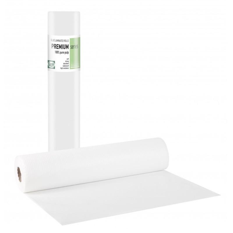 Soft PREMIUM Εξεταστικό ρολό πλαστικό & χαρτί λευκό, 58cm x 50m