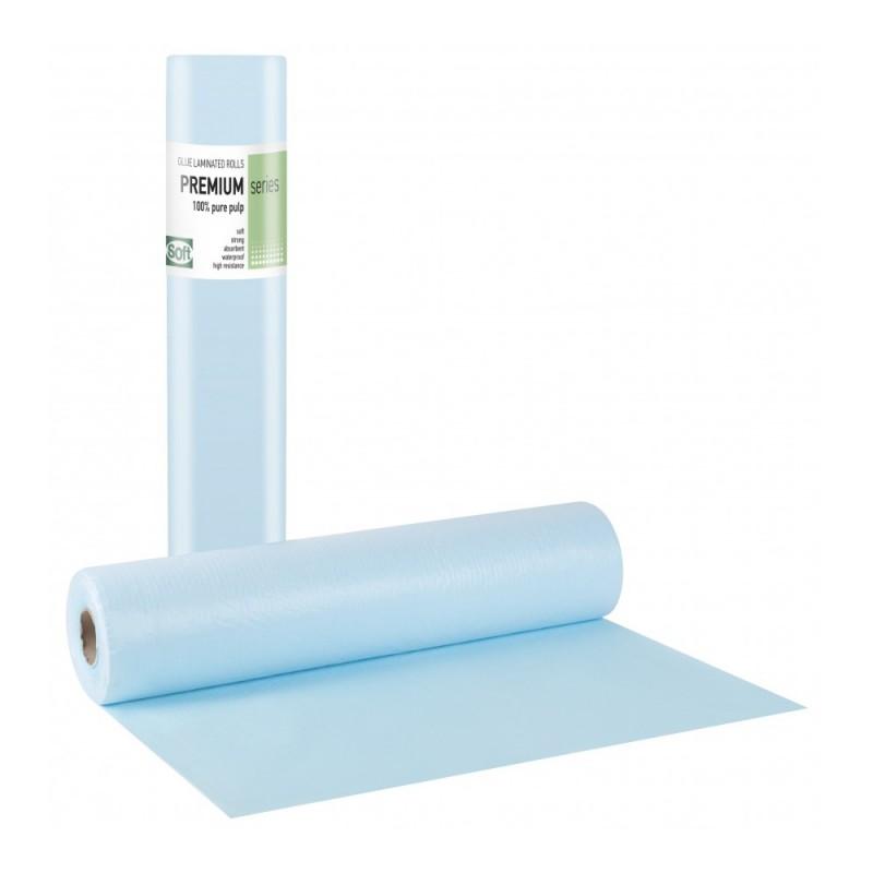 Soft PREMIUM Εξεταστικό ρολό πλαστικό & χαρτί γαλάζιο, 58cm x 50m