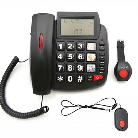 TM-S003 Τηλεφωνική συσκευή βοήθειας για ηλικιωμένους, (Λευκό, Μαύρο), δύο ασύρματα κουμπιά