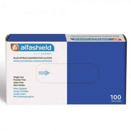 Alfashield Γάντια νιτριλίου, Μπλέ, 100τεμ.