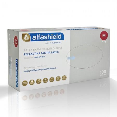 Alfashield Latex γάντια χωρίς πούδρα, Λευκό, 100τεμ.