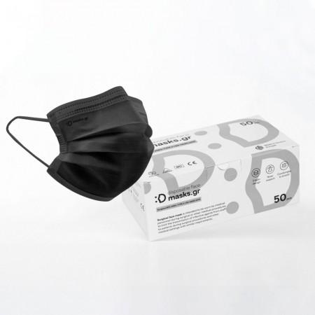 Μάσκες μιας χρήσεως EN 14683, Μαύρο, 50τεμ.
