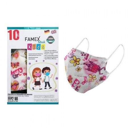 Famex Παιδικές μάσκες FFP2 NR μιας χρήσεως, Pretty Princess, 10τεμ.