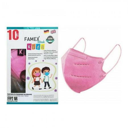Famex Παιδικές μάσκες FFP2 NR μιας χρήσεως, Ροζ, 10τεμ.