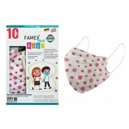 Famex Παιδικές μάσκες FFP2 NR μιας χρήσεως, Polka Dots, 10τεμ.