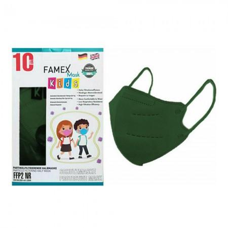 Famex Παιδικές μάσκες FFP2 NR μιας χρήσεως, Σκούρο πράσινο, 10τεμ.