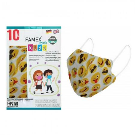 Famex Παιδικές μάσκες FFP2 NR μιας χρήσεως, Emoticon, 10τεμ.