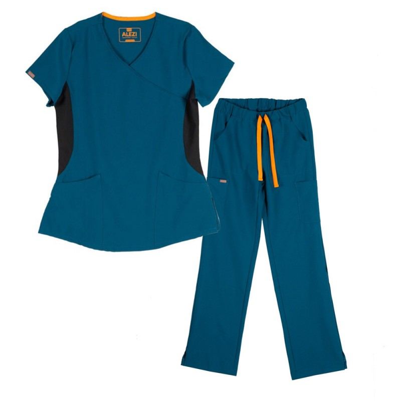 ALEZI Γυναικείο σετ Ιατρική στολή Stretch, Πετρόλ