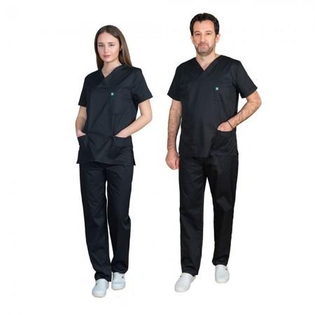 ALEZI Unisex σετ Ιατρική στολή, Μαύρο