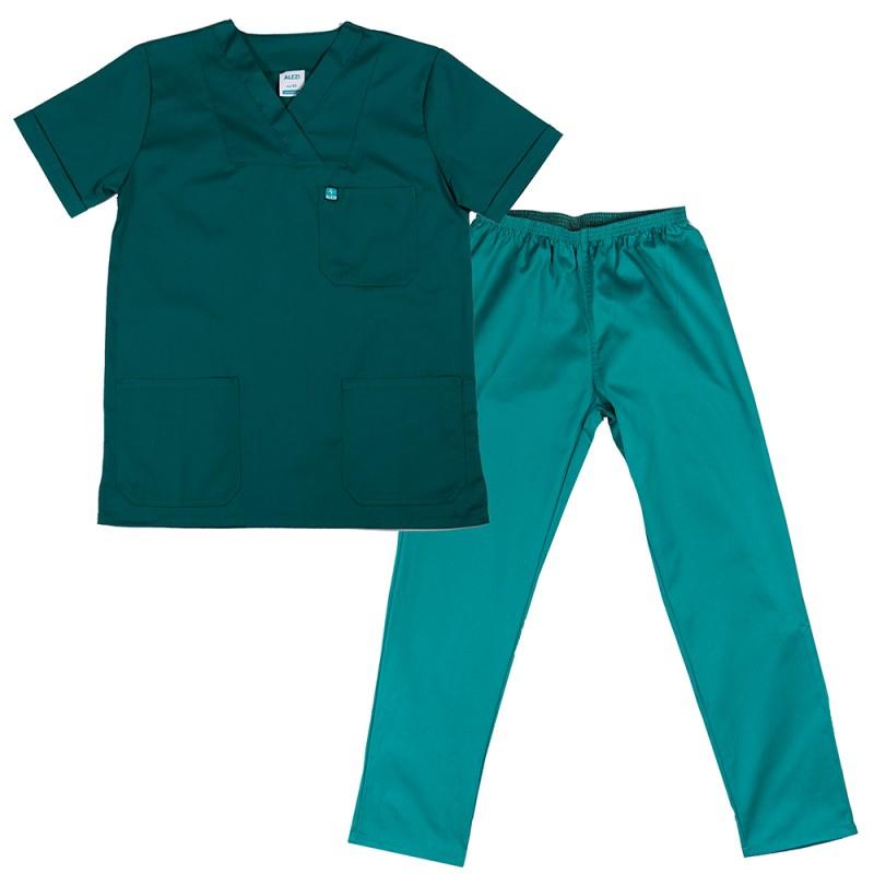 ALEZI Unisex σετ Ιατρική στολή, Πράσινο σκούρο
