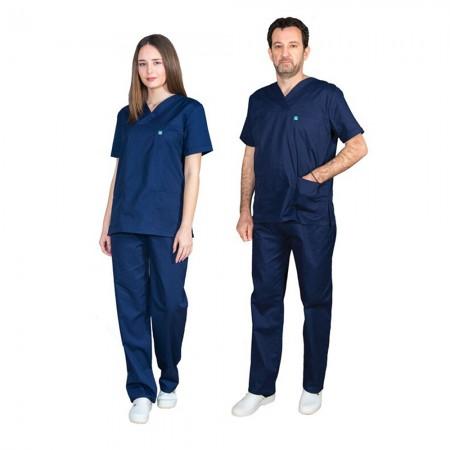 ALEZI Unisex σετ Ιατρική στολή, Μπλέ σκούρο