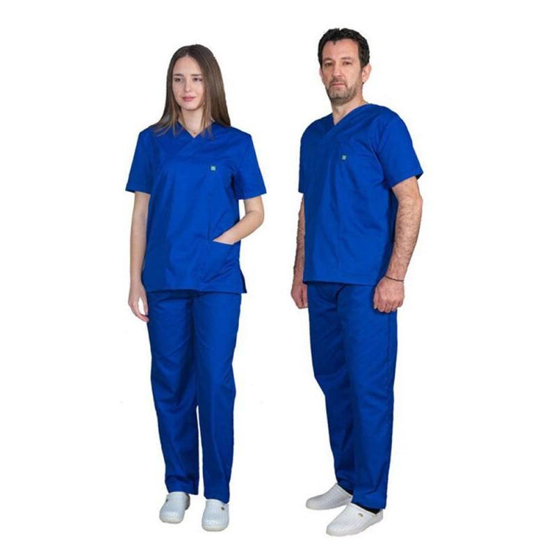 ALEZI Unisex σετ Ιατρική στολή, Μπλέ Ηλεκτρίκ