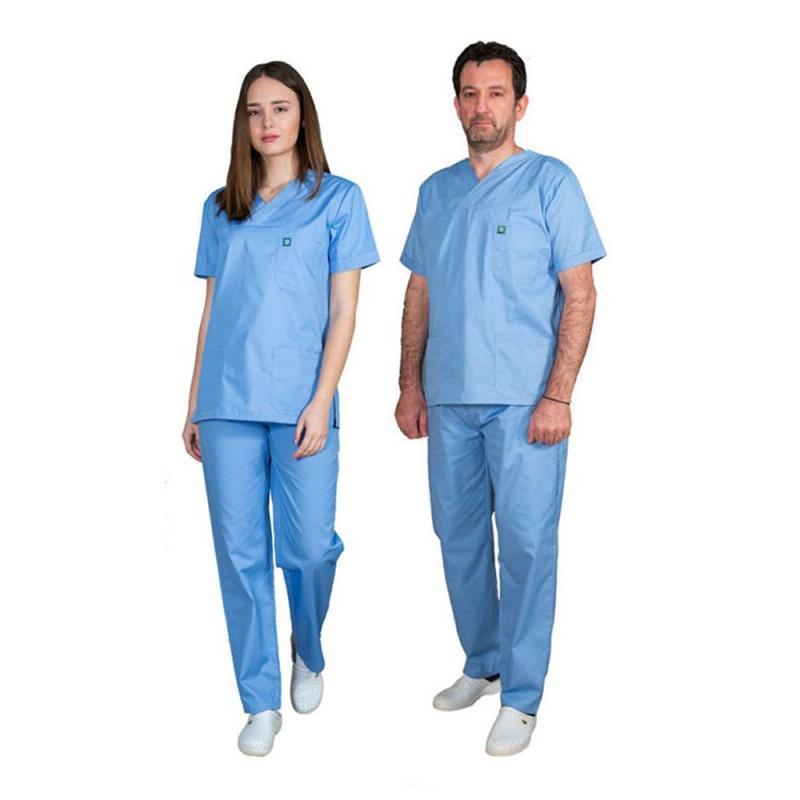 ALEZI Unisex σετ Ιατρική στολή, Σιέλ