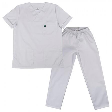 ALEZI Unisex σετ Ιατρική στολή, Λευκό
