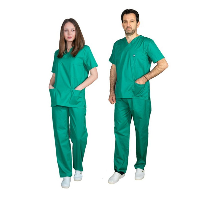 ALEZI Unisex σετ Ιατρική στολή, Πράσινο ανοιχτό