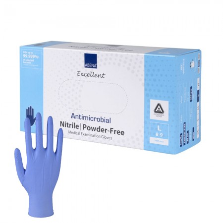 Abena Αντιμικροβιακά γάντια νιτριλίου, Large, Μπλέ, 200τεμ.
