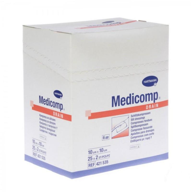 Hartmann Medicomp Drain, Αποστειρωμένο επίθεμα με τομή Υ 10Χ10cm, 25x2 τεμ.