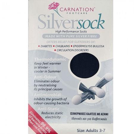 Carnation Silver Sock Κάλτσες αντιβακτηριδιακές για διαβητικούς, 36-40, Μαύρο