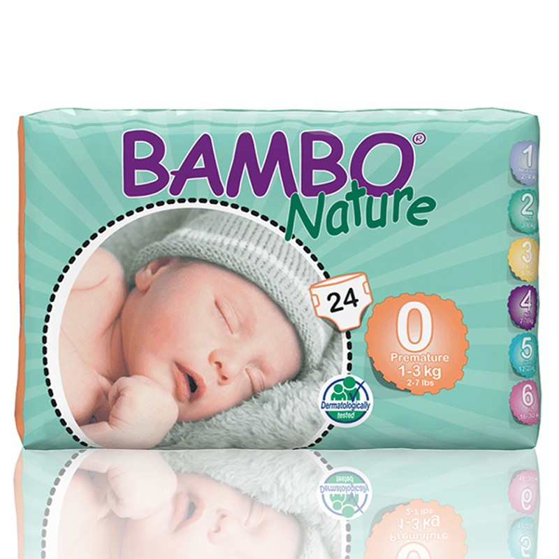 Bambo Nature πάνα Premature (1-3kg), συσκευασία 24 τεμ.