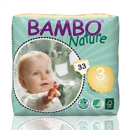Bambo Nature πάνα Midi (5-9kg), συσκευασία 33 τεμ.