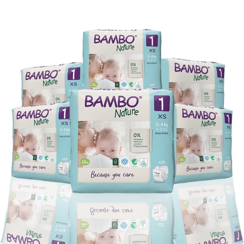 Bambo Nature πάνα no1 (2-4 kg), οικονομική συσκευασία 6x22τεμ.