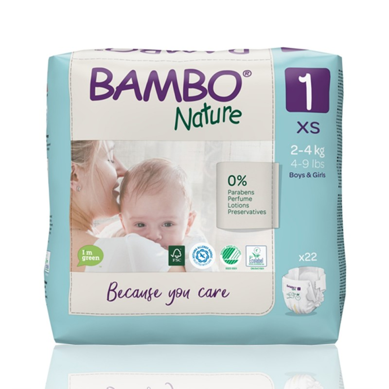 Bambo Nature πάνα no1 (2-4 kg), συσκευασία 22 τεμ.