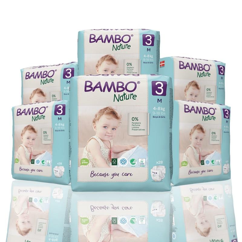 Bambo Nature πάνα no3 (4-8 kg), οικονομική συσκευασία 6x28τεμ.