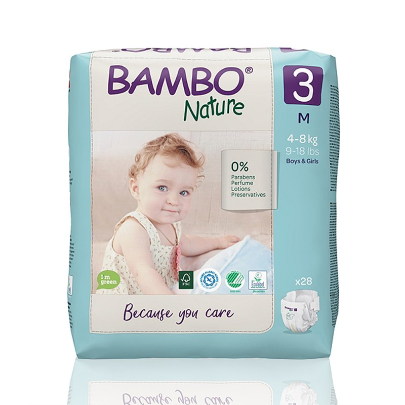 Bambo Nature πάνα no3 (4-8 kg), συσκευασία 28 τεμ.