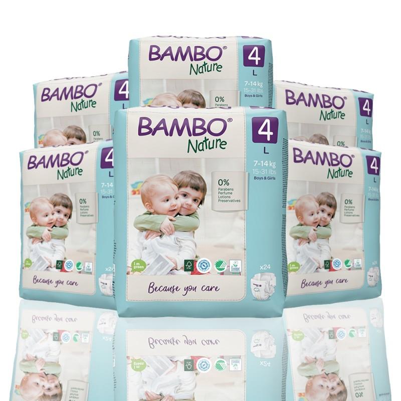 Bambo Nature πάνα no4 (7-14 kg), οικονομική συσκευασία 6x24τεμ.