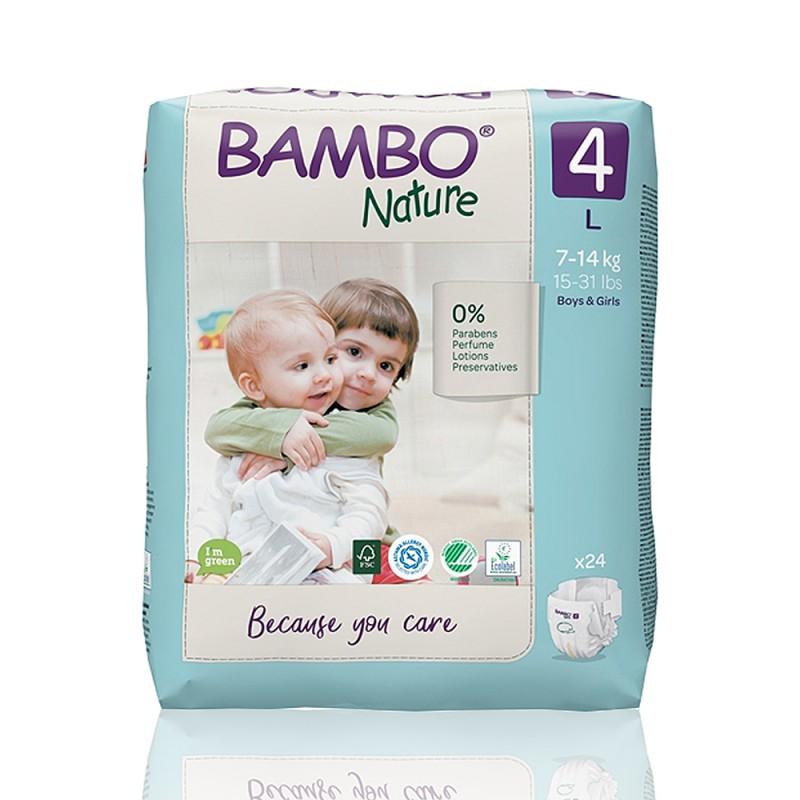 Bambo Nature πάνα no4 (7-14 kg), συσκευασία 24 τεμ.