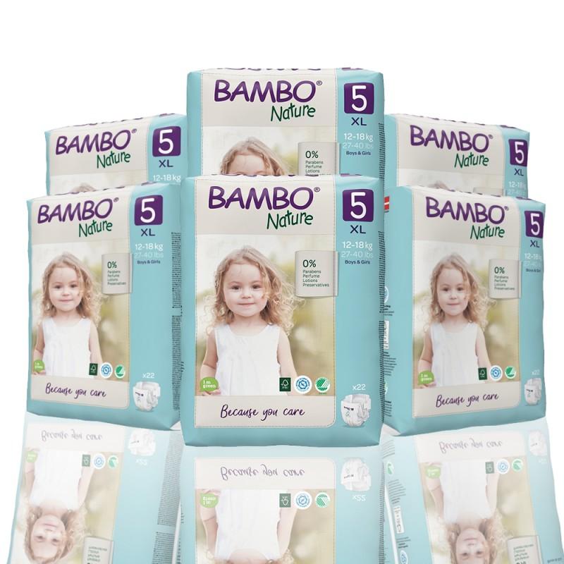 Bambo Nature πάνα no5 (12-18 kg), οικονομική συσκευασία 6x22τεμ.