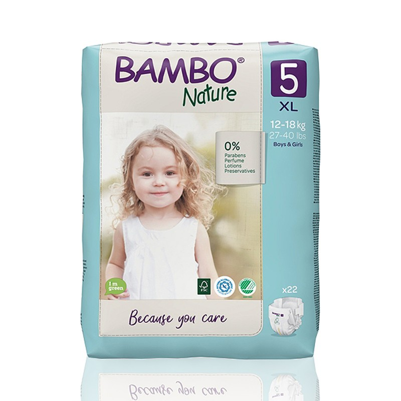 Bambo Nature πάνα no5 (12-18 kg), συσκευασία 22 τεμ.