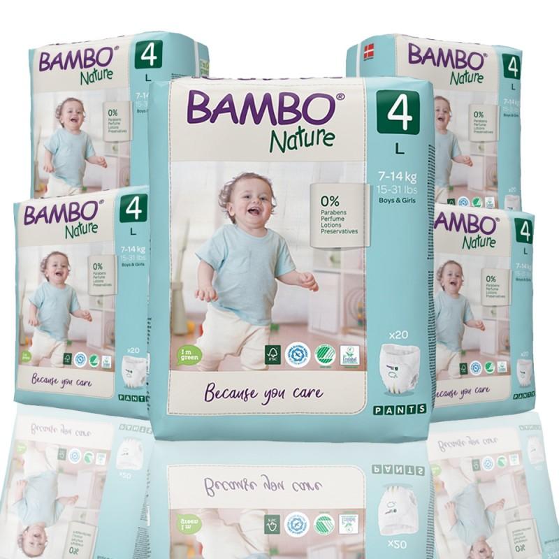 Bambo Nature πάνα βρακάκι no4 7-14kg, οικονομική συσκευασία 5x20τεμ.