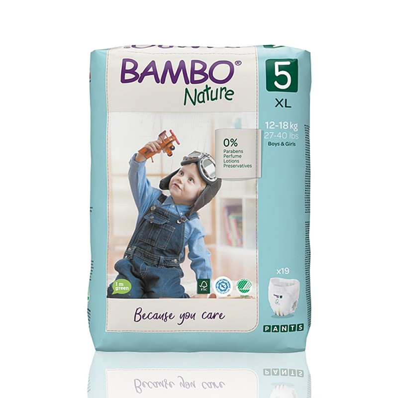 Bambo Nature πάνα βρακάκι no5 12-18kg, συσκευασία 19 τεμ.