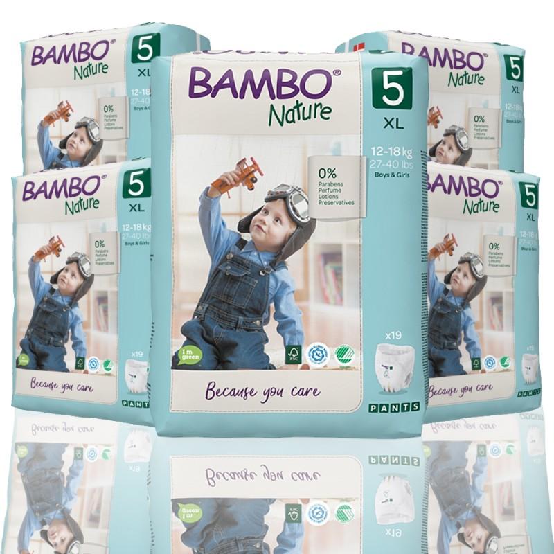 Bambo Nature πάνα βρακάκι no5 12-18kg, οικονομική συσκευασία 5x19τεμ.