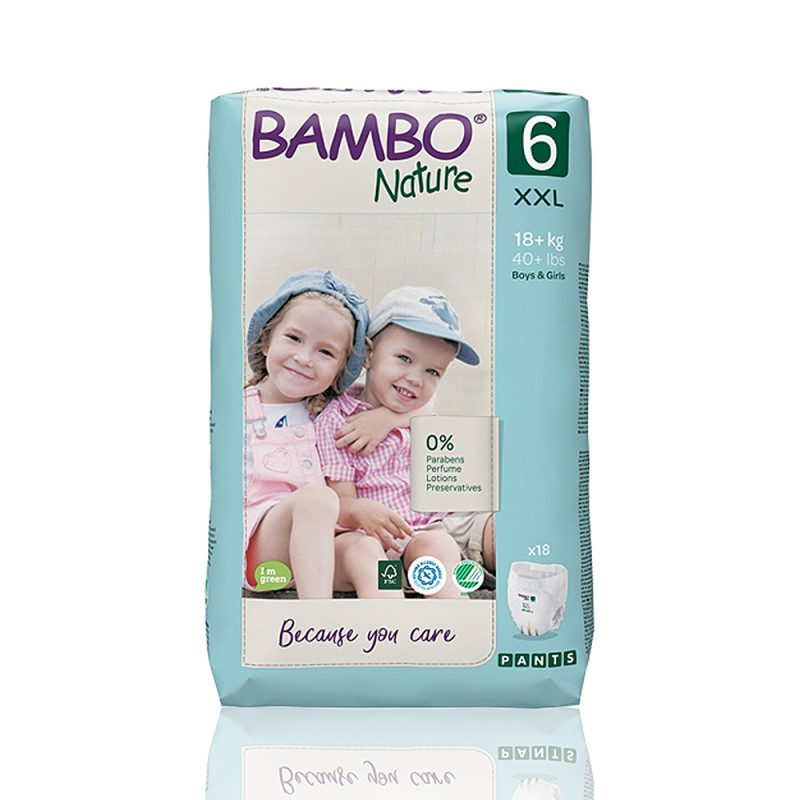 Bambo Nature πάνα βρακάκι no6 18+kg, συσκευασία 18 τεμ.